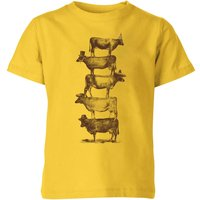 Florent Bodart Cow Cow Nuts Kids' T-Shirt - Yellow - 5-6 Years - Yellow