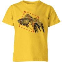 Florent Bodart Fish In Geometry Kids' T-Shirt - Yellow - 11-12 Years - Yellow