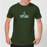 Plain Lazy Stop War Hug More Mens T-Shirt - Forest Green - S - Forest Green