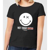Smiley World Slogan Not Today Satan Women's T-Shirt - Black - XXL - Black - Smiley Gifts