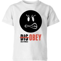 Smiley World Slogan Disobey Kids' T-Shirt - White - 11-12 Years - White - Smiley Gifts