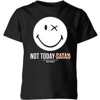 Smiley World Slogan Not Today Satan Kids' T-Shirt - Black - 11-12 Years - Black - Smiley Gifts