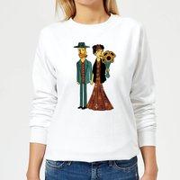 Tobias Fonseca Love Is Art - Frida Kahlo and Van Gogh Women's Sweatshirt - White - XXL - White