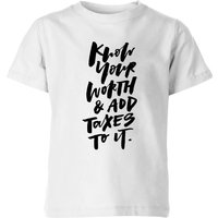 PlanetA444 Know Your Worth and Add Taxes To It Kids' T-Shirt - White - 7-8 Years - White