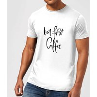 Image of PlanetA444 But First, Coffee Men's T-Shirt - White - XS - White