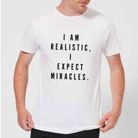 PlanetA444 I Am Realistic, I Expect Miracles Men's T-Shirt - White - S - White