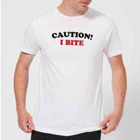 Caution! I Bite Men's T-Shirt - White - 4XL - White