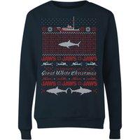 Jaws Great White Christmas Women's Sweatshirt - Navy - L - Navy