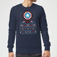 Marvel Avengers Captain America Pixel Art Christmas Sweatshirt - Navy - XXL