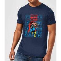 Marvel Avengers Thor Men's Christmas T-Shirt - Navy - M