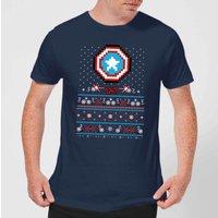 Marvel Avengers Captain America Pixel Art Men's Christmas T-Shirt - Navy - M