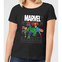 Marvel Avengers Group Women's Christmas T-Shirt - Black - L - Black
