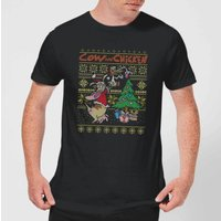 Cow and Chicken Cow And Chicken Pattern Men's Christmas T-Shirt - Black - M - Black