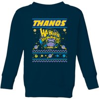 Thanos Christmas Knit Kids Christmas Sweatshirt - Navy - 11-12 Years - Navy
