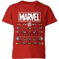 Marvel Avengers Pixel Art Kids Christmas T-Shirt - Red - 9-10 Years - Red