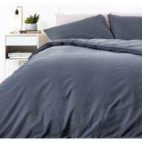 in homeware Washed Cotton Duvet Set - Dark Grey - Single