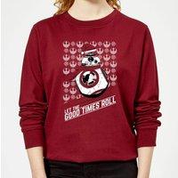 Star Wars Let The Good Times Roll Women's Christmas Sweatshirt - Burgundy - L - Burgundy