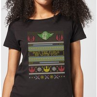 Star Wars May The force Be with You Pattern Women's Christmas T-Shirt - Black - XXL - Black