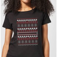 Star Wars On The Naughty List Pattern Women's Christmas T-Shirt - Black - M - Black