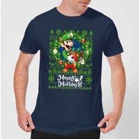 Nintendo Super Mario Happy Holidays Luigi Men's Christmas T-Shirt - Navy - S - Navy