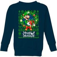 Nintendo Super Mario Happy Holidays Luigi Kids' Christmas Sweatshirt - Navy - 9-10 Years - Navy