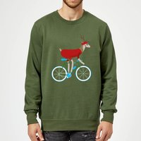 Biking Reindeer Christmas Sweatshirt - Forest Green - XL - Forest Green
