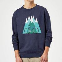 Bike and Mountains Christmas Sweatshirt - Navy - S - Navy