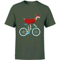 Biking Reindeer Men's Christmas T-Shirt - Forest Green - S - Forest Green