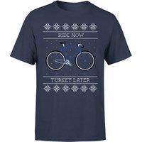 Ride Now, Turkey Later Men's Christmas T-Shirt - Navy - M - Navy