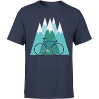 Bike and Mountains Men's Christmas T-Shirt - Navy - L - Navy