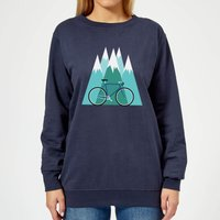 Bike and Mountains Women's Christmas Sweatshirt - Navy - M - Navy