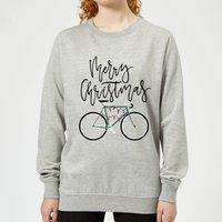 Bike Lights Women's Christmas Sweatshirt - Grey - S - Grey