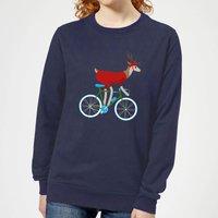 Biking Reindeer Women's Christmas Sweatshirt - Navy - S - Navy