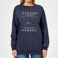 Ride Now, Turkey Later Women's Christmas Sweatshirt - Navy - XL - Navy