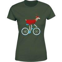 Biking Reindeer Women's Christmas T-Shirt - Forest Green - XS - Forest Green