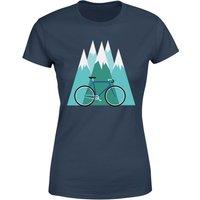 Bike and Mountains Women's Christmas T-Shirt - Navy - M - Navy