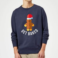 Get Baked Christmas Sweatshirt - Navy - M - Navy