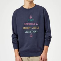 Have Yourself A Merry Little Christmas Christmas Sweatshirt - Navy - S - Navy