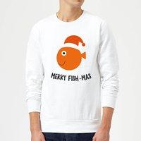 Merry Fish-Mas Christmas Sweatshirt - White - XL - White