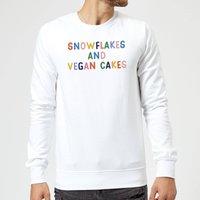 Snowflakes and Vegan Cakes Christmas Sweatshirt - White - S - White