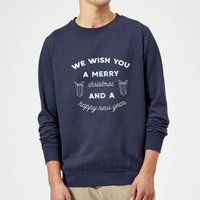 We Wish You A Merry Christmas and A Happy New Year Christmas Sweatshirt - Navy - M - Navy