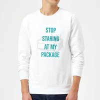 Stop Staring At My Package Christmas Sweatshirt - White - XL - White