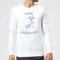 Oh Deer Christmas Is Here Christmas Sweatshirt - White - S - White