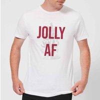 Jolly AF Mens Christmas T-Shirt - White - 3XL - White