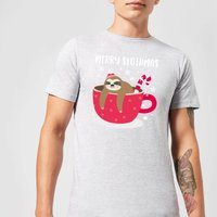 Merry Slothmas Mens Christmas T-Shirt - Grey - 5XL - Grey