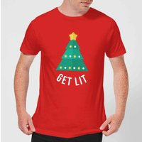 Get Lit Men's Christmas T-Shirt - Red - XS - Red