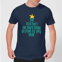 The Tree Isnt The Only Thing Getting Lit This Year Mens Christmas T-Shirt - Navy - XL - Navy