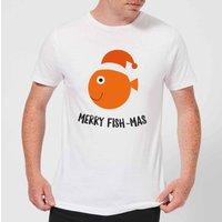 Merry Fish-Mas Men's Christmas T-Shirt - White - 3XL - White