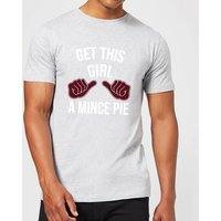 Get This Girl A Mince Pie Mens Christmas T-Shirt - Grey - L - Grey