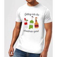 Getting Into The Christmas Spirit Mens Christmas T-Shirt - White - XL - White